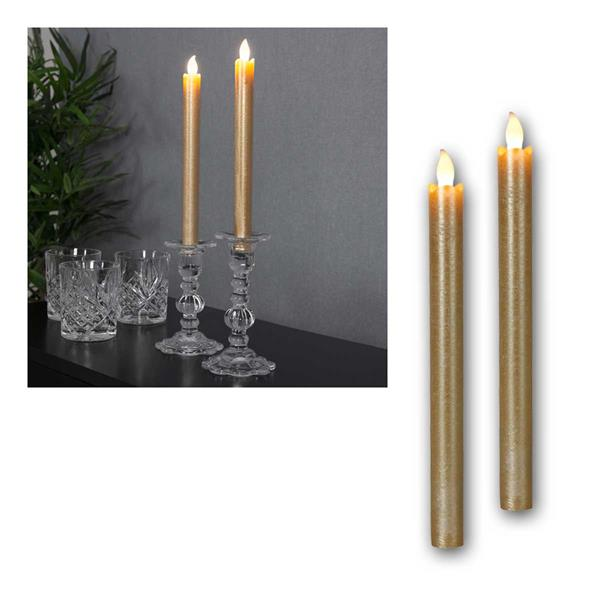 LED Stabkerzen Presse golden 2er Set Kerzen