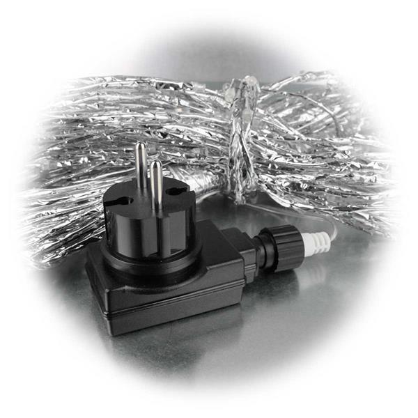 LED Wasserfall mit silberner Ummantelung für Anschluss an 230V
