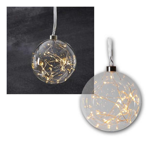 Glaskugel mit 40 LED warmweiß Glow Ø15 cm klar