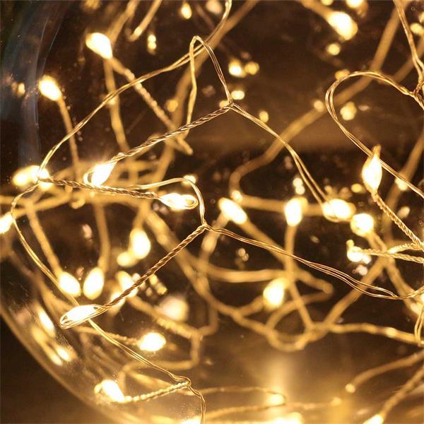 Glas Dekokugel mit LED Lichterkette mit 40 LEDs