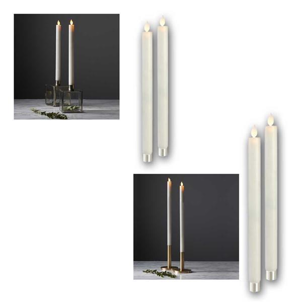 Wachs Stabkerzen 2er Set 30/40cm LED warmweiß