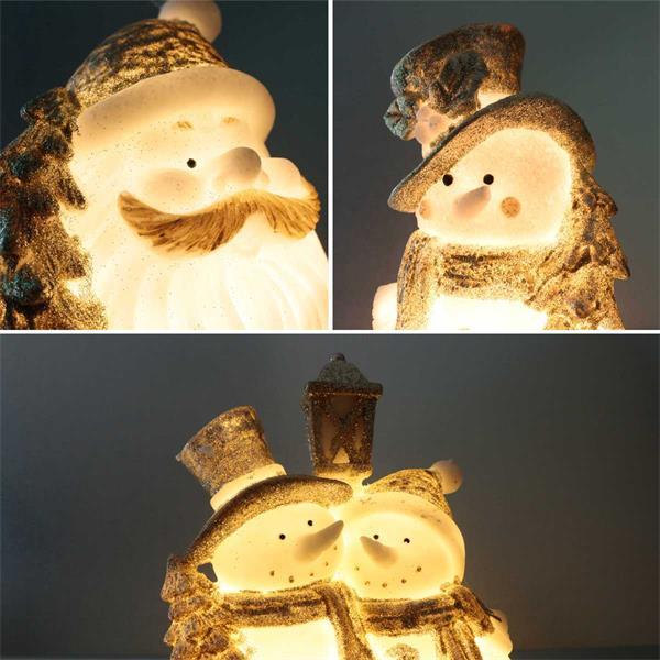 Wamweiß leuchtende Dekofiguren mit Weihnachtsmotiven