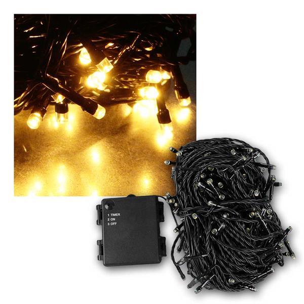 Batterielichterkette 24m, 240 LED IP44 Außen Timer
