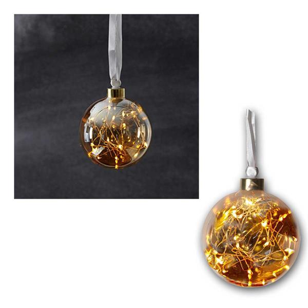 Glaskugel mit 15 LED warmweiß Glow Ø11 cm orange