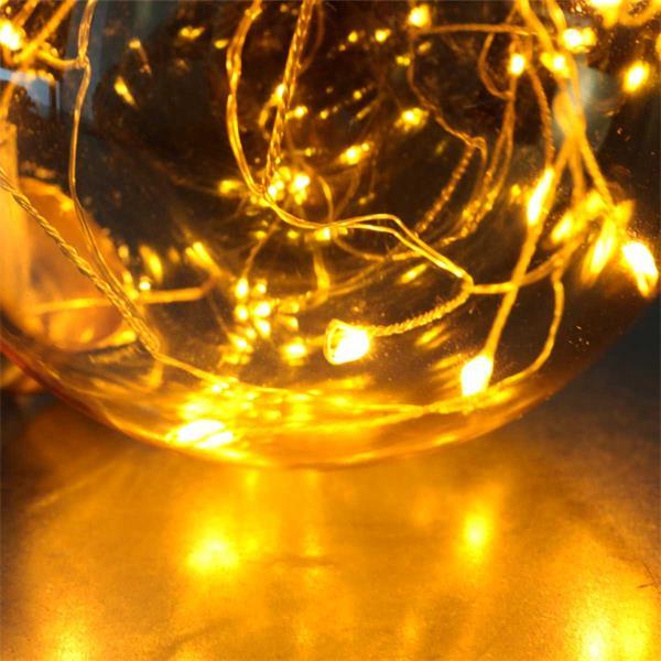 Glas Dekokugel mit LED Lichterkette mit 15 LEDs