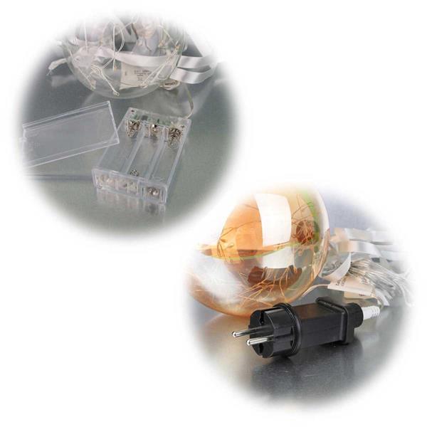 LED-Glaskugel mit Batteriebetrieb oder 230V-Netzteil