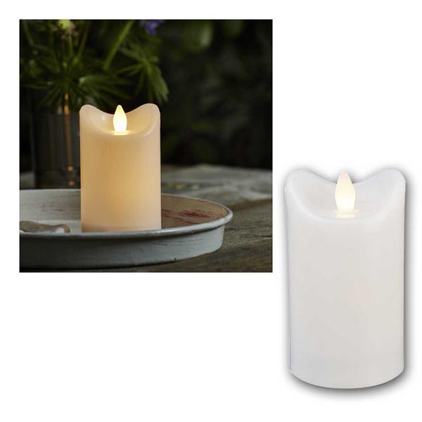 LED Kerze BIANCO weiß 7,2x12cm mit Timer für Außen