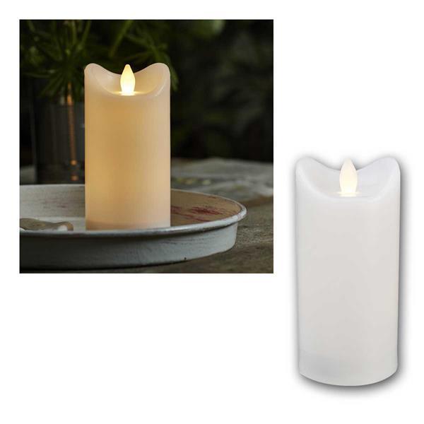 LED Kerze BIANCO weiß 7,2x15cm mit Timer für Außen