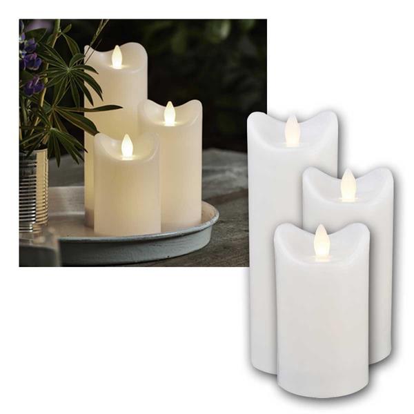 LED Kerze BIANCO weiß 3er Set, mit Timer für Außen