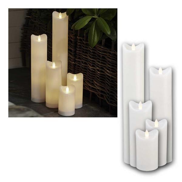 LED Kerze BIANCO weiß 5er Set, mit Timer für Außen