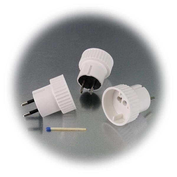 kompaktes Set mit drei Adaptern für EU Schutzkontaktsteckdosen