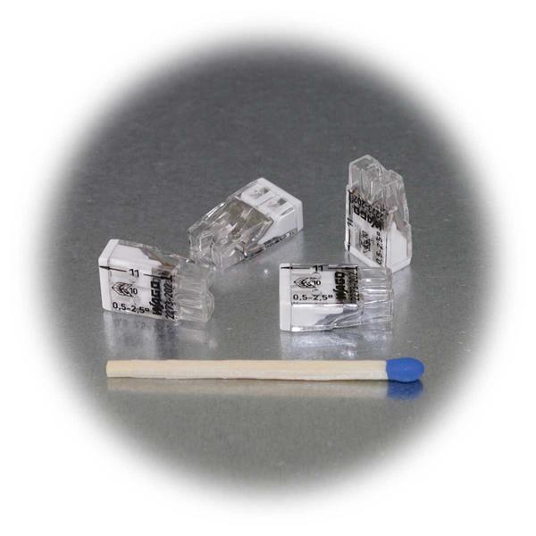 Klemme mit geringen Abmessungen und weißer Kennzeichnung