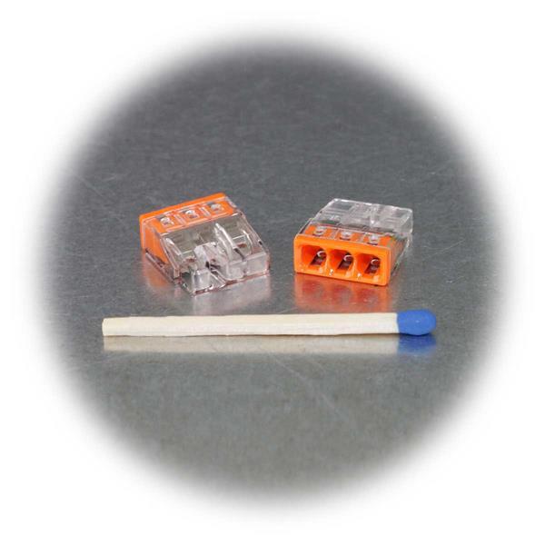 Klemme mit geringen Abmessungen und oranger Kennzeichnung