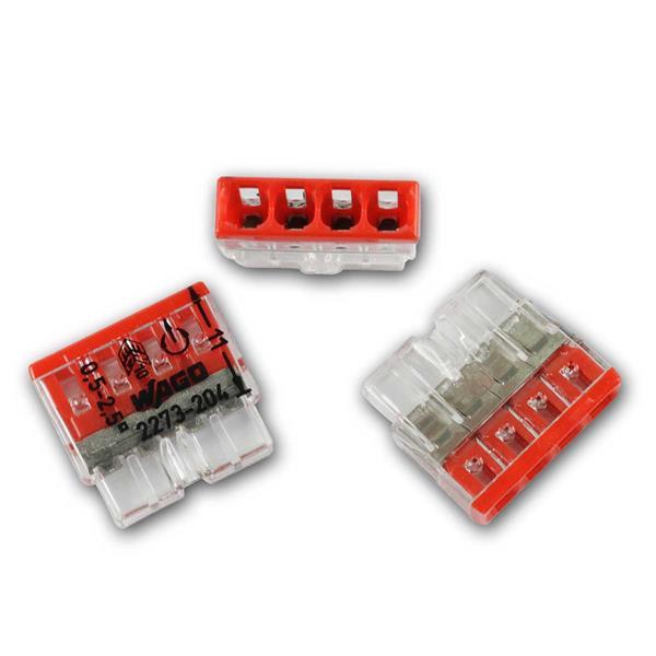 10 WAGO Compact Steckklemmen 4x 0,5-2,5 mm² rot