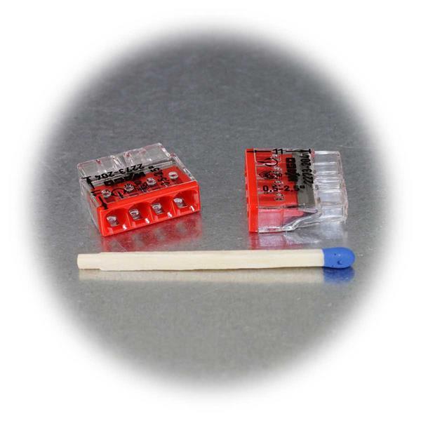 Klemme mit geringen Abmessungen und roter Kennzeichnung