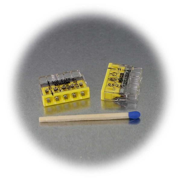 Klemme mit geringen Abmessungen und gelber Kennzeichnung