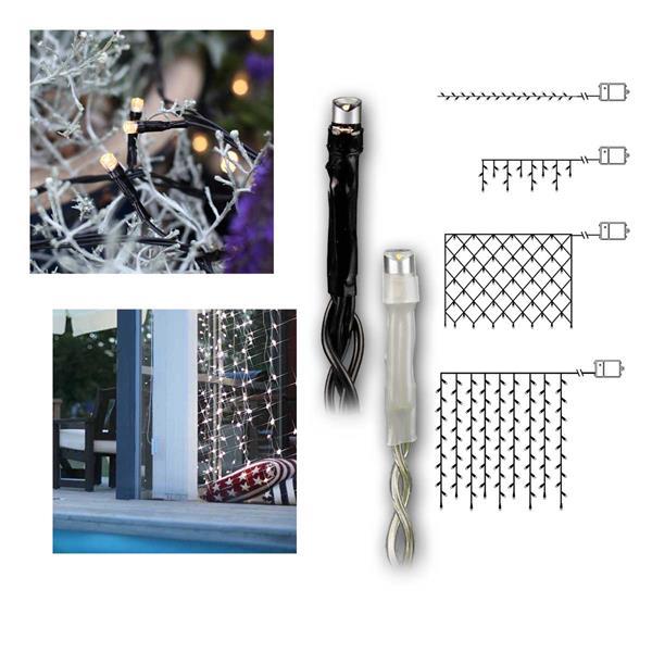 Batterie-Lichterketten DURA IP44 schwarz/weiß
