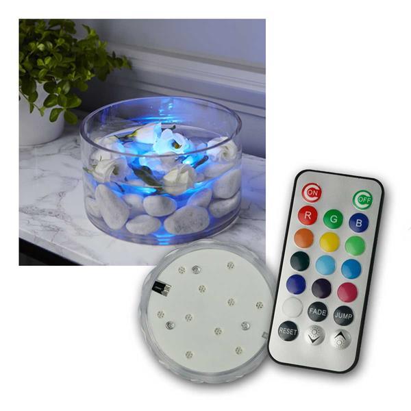 Wasserkerze mit Fernbedienung, 10 LED bunt RGB