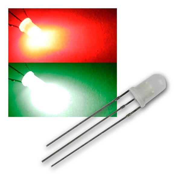 10 LED 5mm diffus Rot / Pur-Grün 2-farbig, 3-Pin