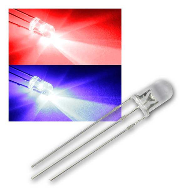10 LED 5mm wasserklar Rot / Blau 2-farbig, 3-Pin
