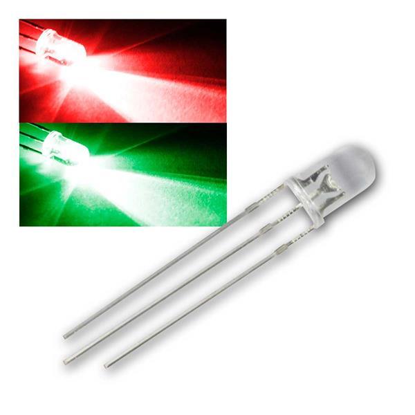 10 LED 5mm wasserklar Rot/Pur-Grün 2-farbig, 3-Pin