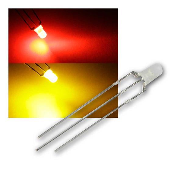 10 LED 3mm diffus Rot/Gelb-Grün 2-farbig, 3-Pin