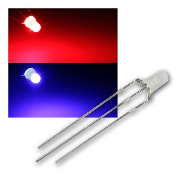 10 LED 3mm diffus Rot / Blau 2-farbig, 3-Pin