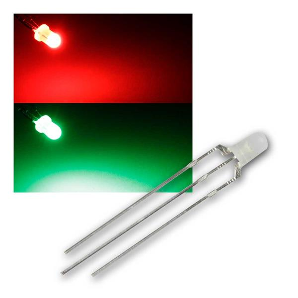 10 LED 3mm diffus Rot/Pur-Grün 2-farbig, 3-Pin