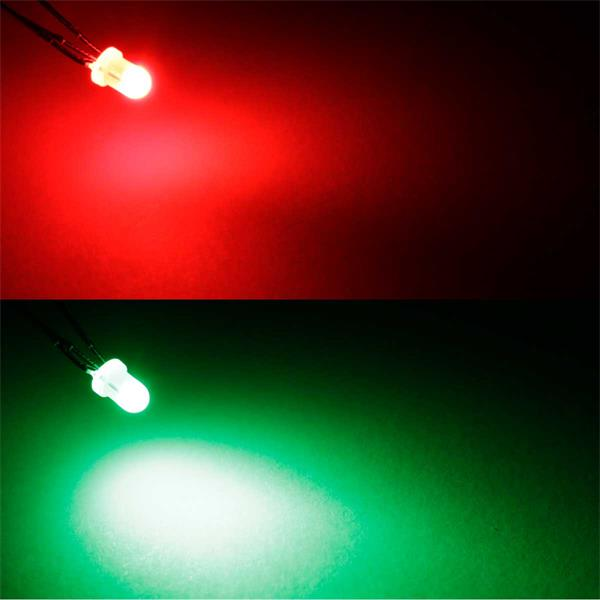 2-farbige LEDs in Rot/Pur-Grün, 3mm