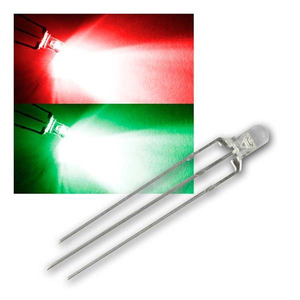 10 LED 3mm wasserklar Rot/Pur-Grün 2-farbig, 3-Pin