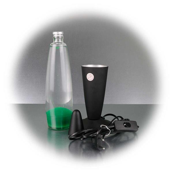 Leuchte mit Glaskörper, Metallfuß und Metallkappe
