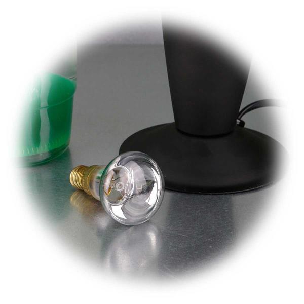 E14/R39 Halogen-Leuchtmittel erwärmt die Flüssigkeit