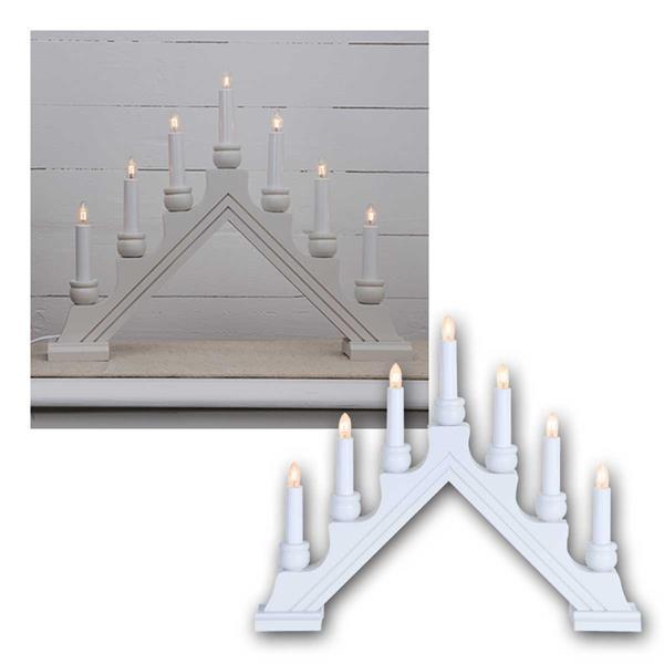 LED Fensterleuchter Karin-7 weiß aus Holz, 7-flammig