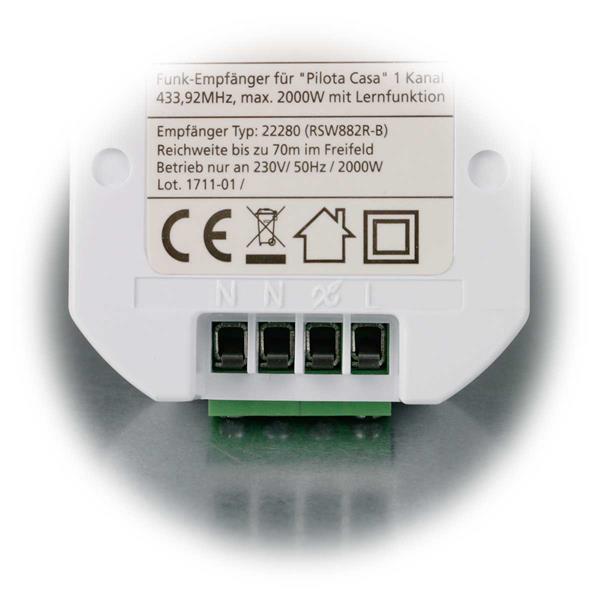 einfacher Anschluss an die Stromversorgung des Empfängers