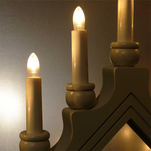 Warmweiß leuchtender LED Schwibbogen in 2 Farben