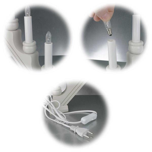 LED Schwibbogen mit austauschbaren E10-Leuchtmitteln