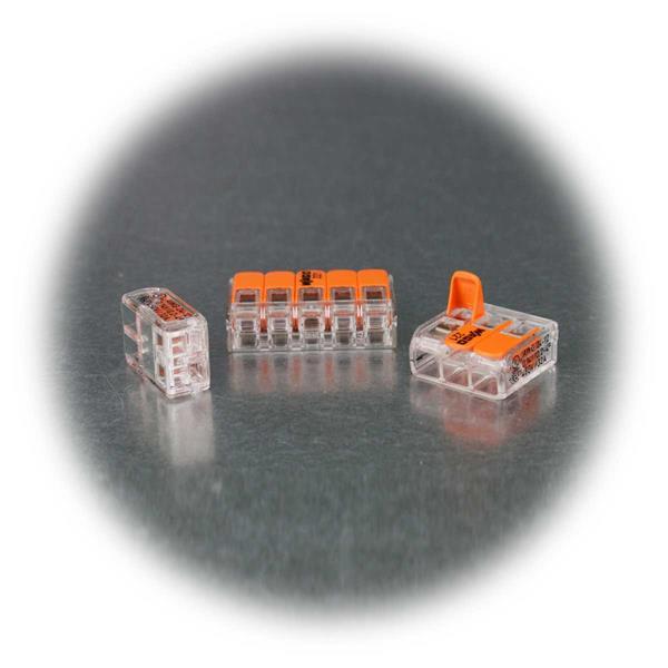 Steckklemmen von WAGO für 2, 3 oder 5x 4mm²-Leitungen