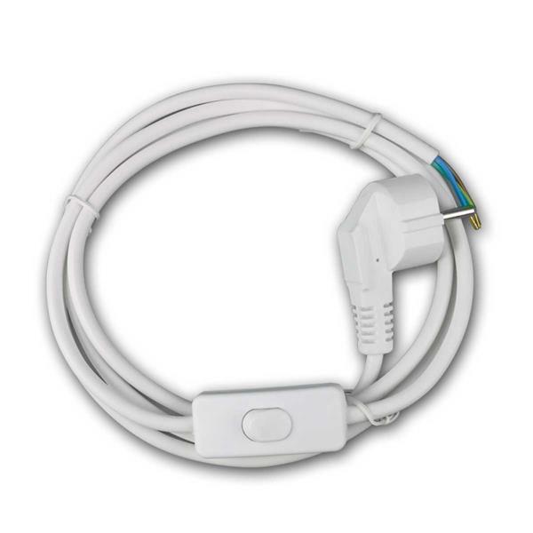 Netzkabel 1,8m Schutzkontaktstecker Schalter weiß