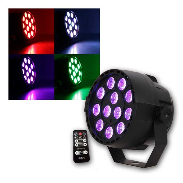 LED-DiscoStrahler 3in1 RGB 12x 3W, DMX/Musik