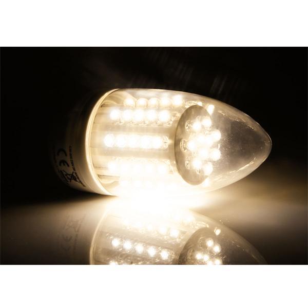 LED Energiesparlampe Kerzenform mit 60 breitstrahlenden LEDs im Kunststoff-Gehäuse