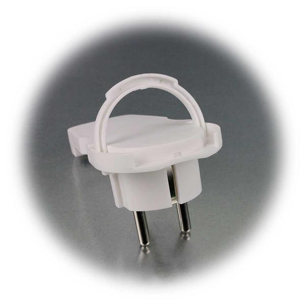 Schutzkontaktstecker mit verlängertem Griffelement und Klappgriff