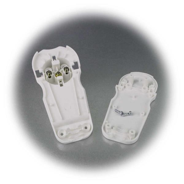 Flachstecker für 230V mit seitlicher Leitungseinführung und Zugentlastung