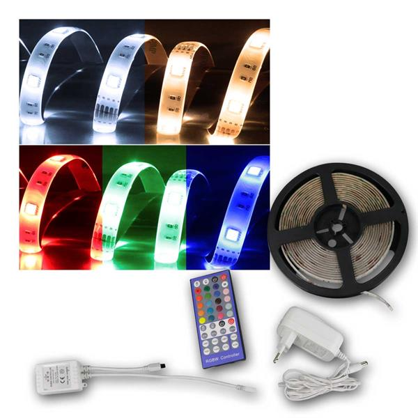 5m Set RGB+WW SMD LED Stripe mit Fernbedienung