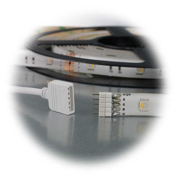 Set bestehend aus LED RGB+WW Streifen, Controller, Fernbedienung und Netzteil