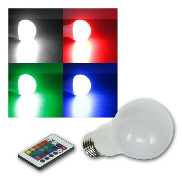 LED Glühlampe E27 RGBW mit Fernbedienung 5W Birne
