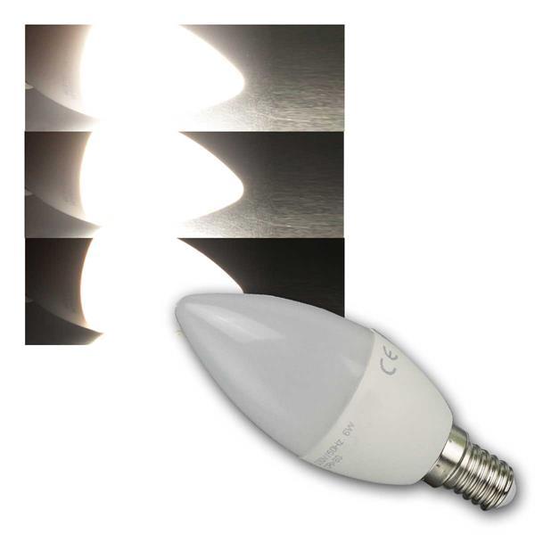 """LED Kerzenlampe E14 """"K60"""" neutralwei 500lm 6W/230V"""