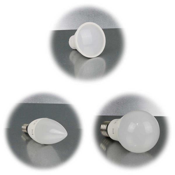 LED Strahler, Birne oder Kerzenlampe in je 2 Leuchtfarben