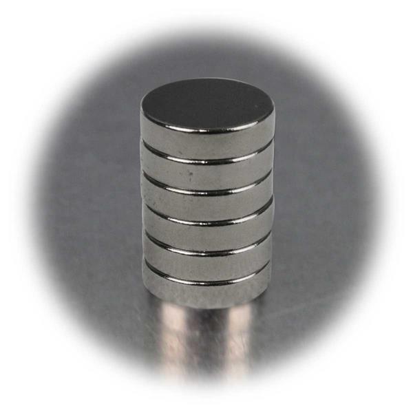 6er Set Supermagnete, 12x3mm, rund