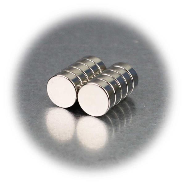 10er Set Neodymiummagnete, 8x3mm, rund