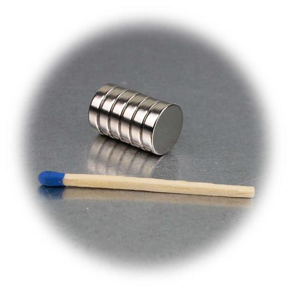 6er Set 12x3mm große Neodymiummagnete